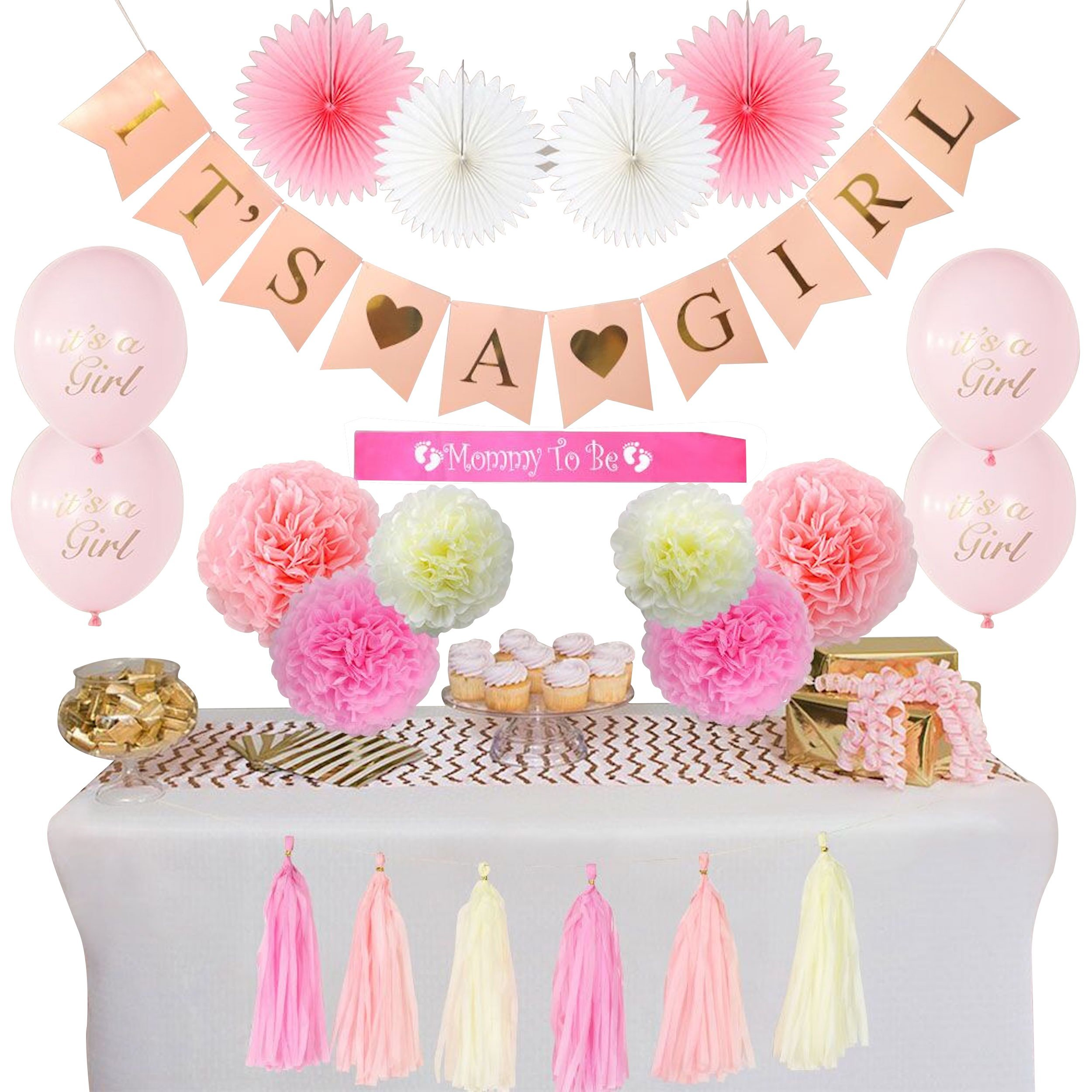 Amazon.com: Baby Shower Decorations For Girl Pink and Gold Theme: OH ...