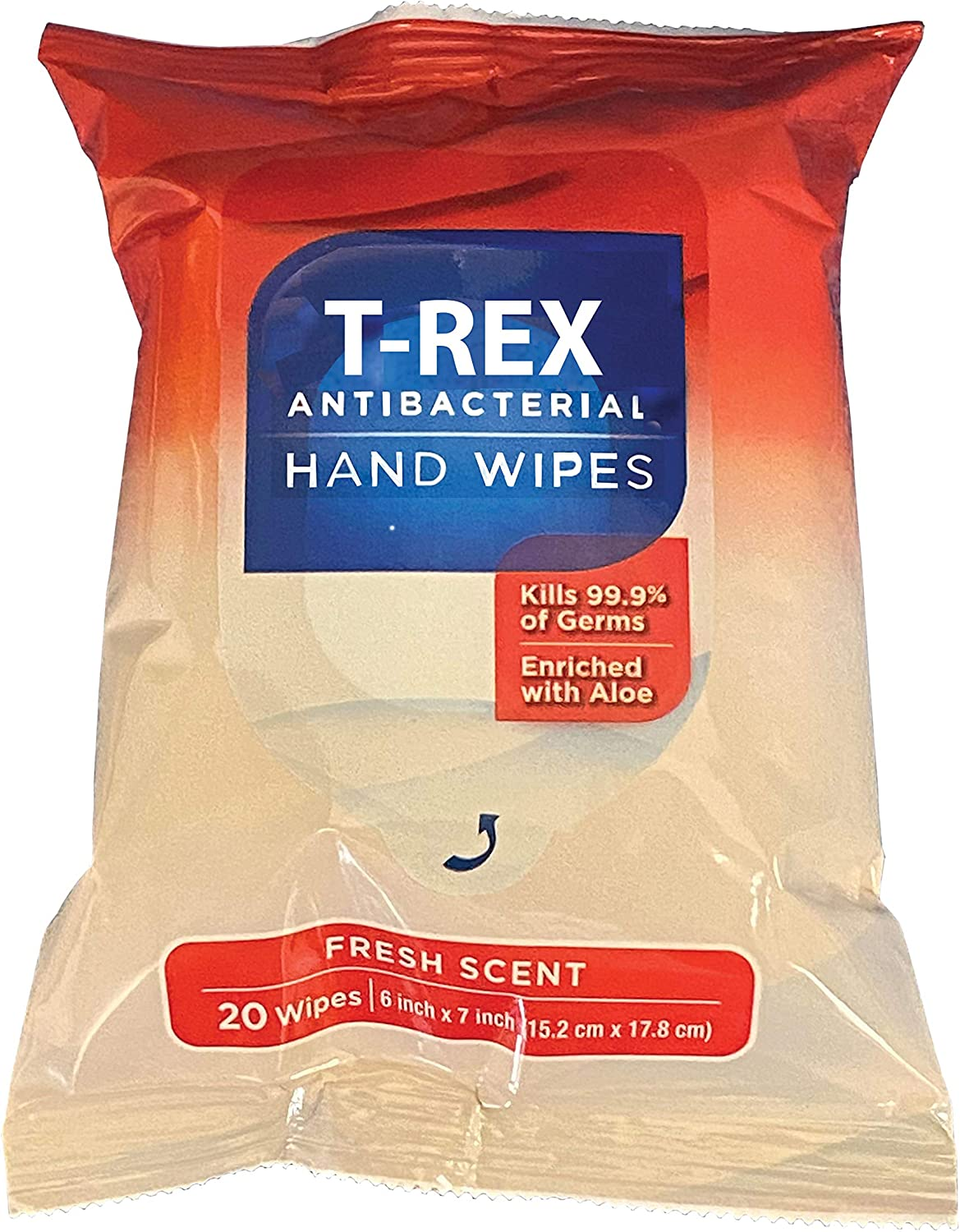 T-Rex Antibacterial Hand Wipes, Fresh Scent, Pack with 20 Sanitizing Wipes