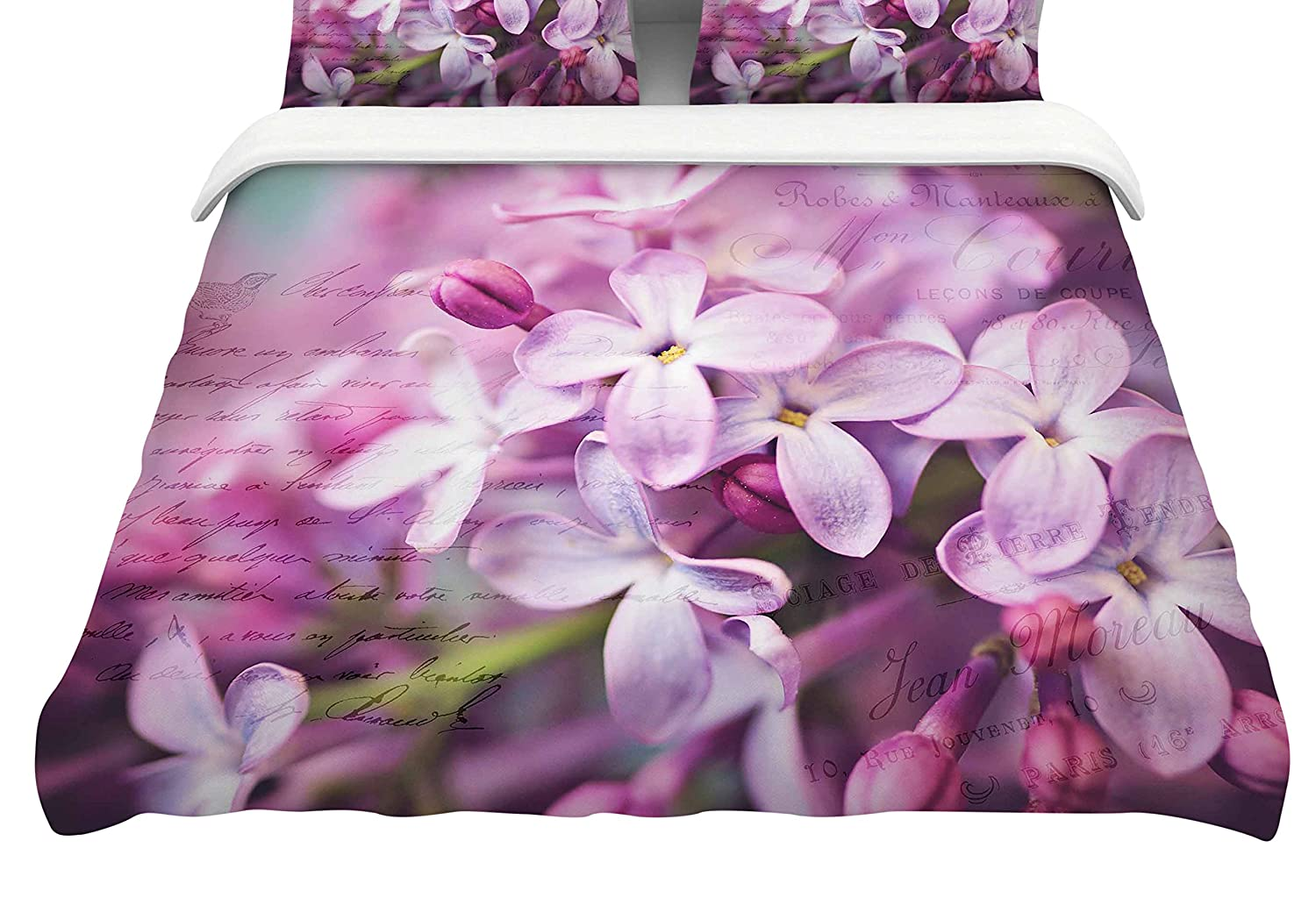 Kess InHouse Sylvia Cook April Flowers Pink White Queen Cotton Duvet Cover 88-Inch
