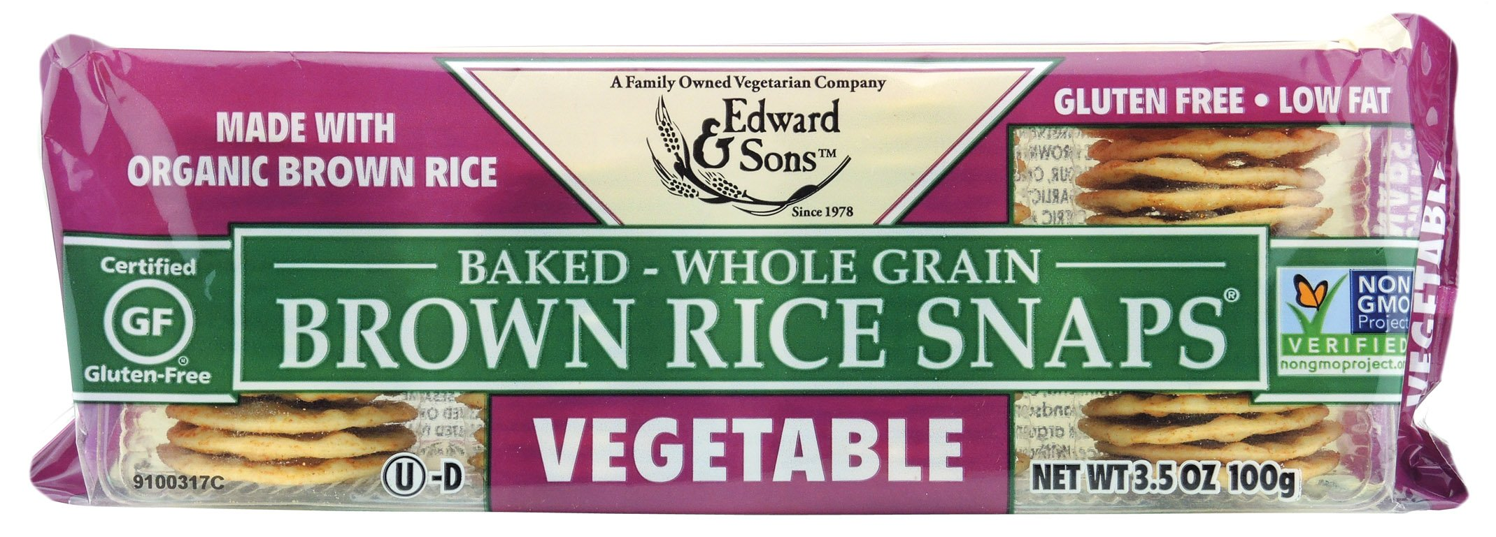 Edward & Sons Brown Rice Snaps Vegetable with Organic Brown Rice, 3.5 Ounce Packs (Pack of 12) by Edward & Sons