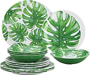 Gourmet Art 12-Piece Monstera Heavyweight and Durable Melamine Dinnerware Set, Service for 4. Includes Dinner Plates, Salad Plates and Bowls. for Indoors Outdoors Use and Everyday Use