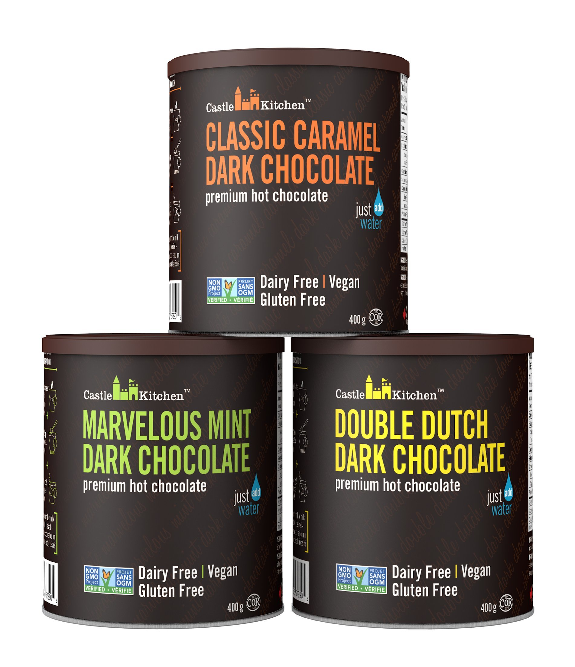 Natural Hot Chocolate Mix Variety Pack - Dairy-Free, Vegan Complete Mixes - Just Add Water - Pack of 3 (Classic Caramel, Double Dutch, Marvelous Mint Dark Chocolate) 14 oz Each