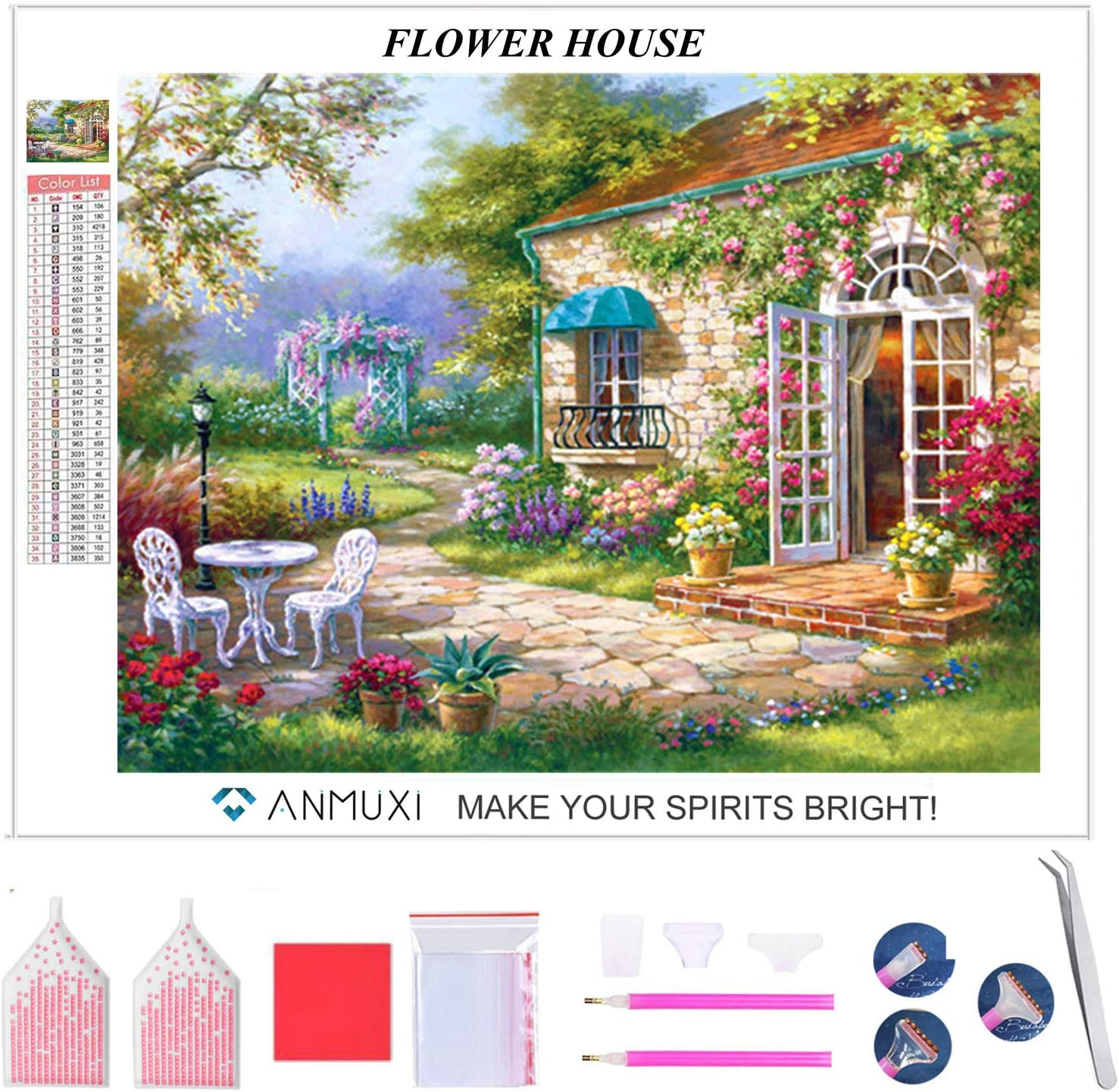 ANMUXI 5D Diamond Painting Kits Full SQUARE Drills for Adults 30X40CM Pink Tree Landscape Scenery Paint With Diamonds Art for Stress-relief /& Home Decor