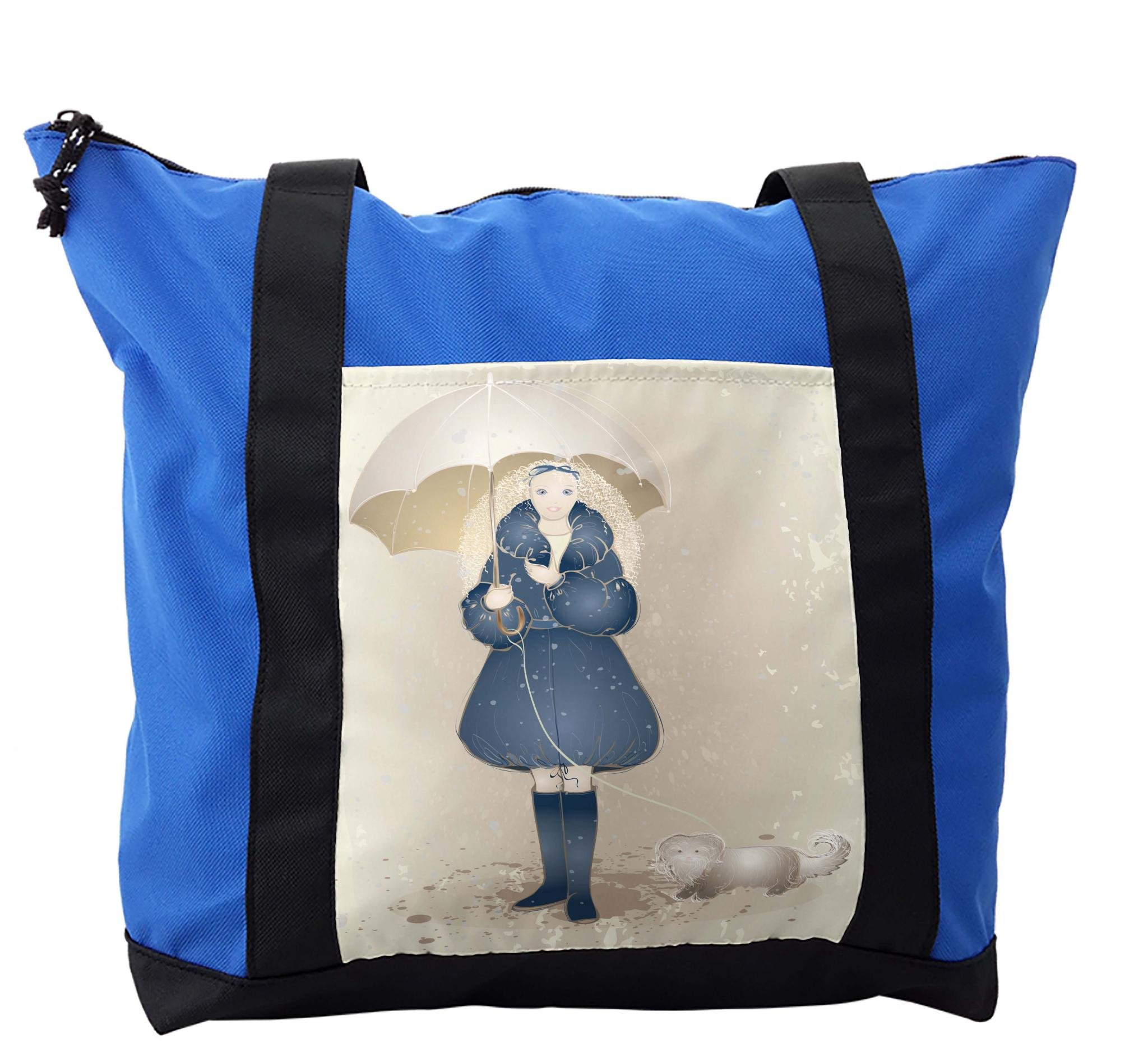 Lunarable Umbrella Shoulder Bag, Curly Haired Girl in Coat, Durable with Zipper