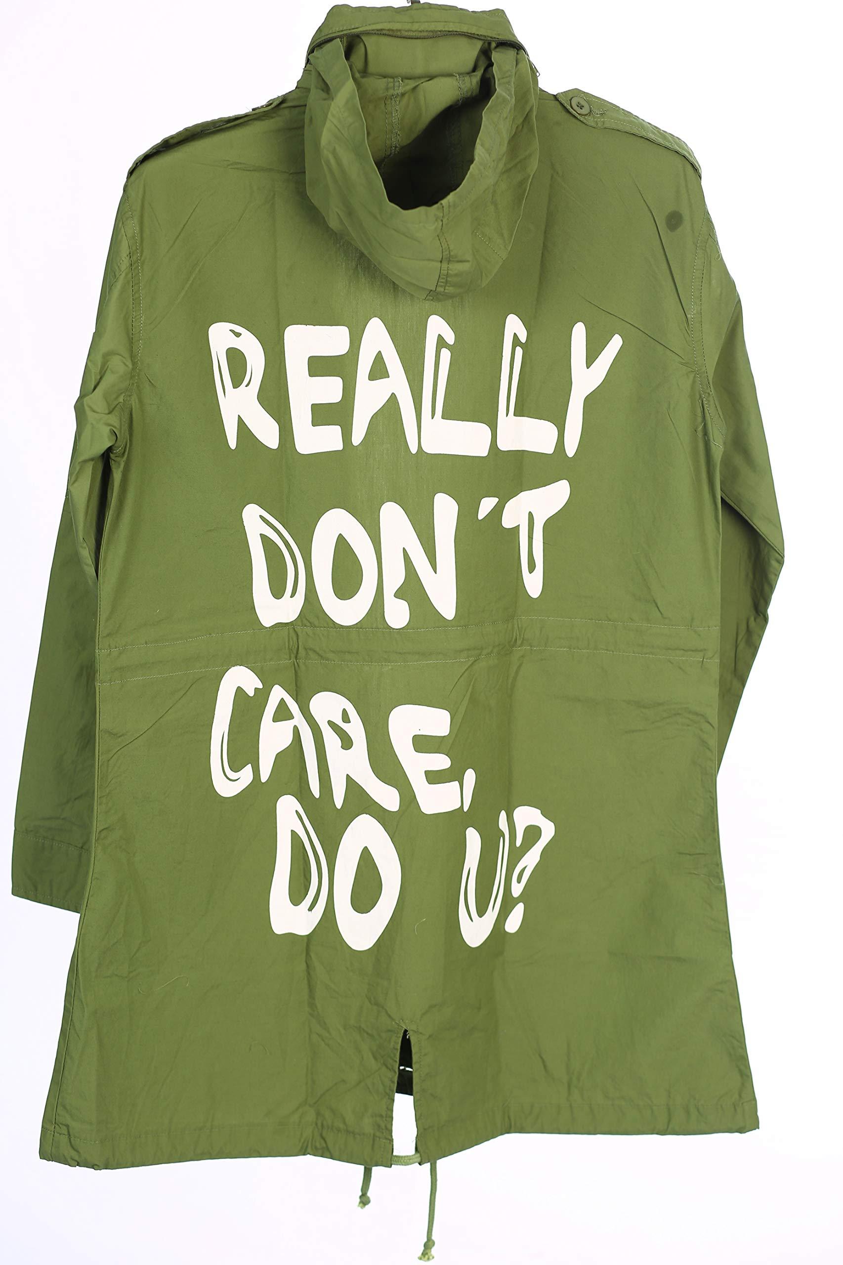 NEXT ATLANTIC Hooded Parka Army Green Jacket-I Really Don't Care Melania Trump Coat by NEXT ATLANTIC