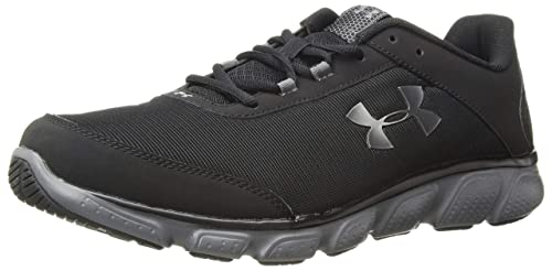 Under Armour Men's Micro G Assert 7 Running Shoe, Black (001)/Rhino Gray, 10.5 4E