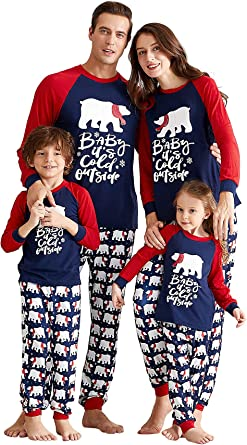 Yaffi Conjunto de pijama a juego con diseño de oso de Navidad ...