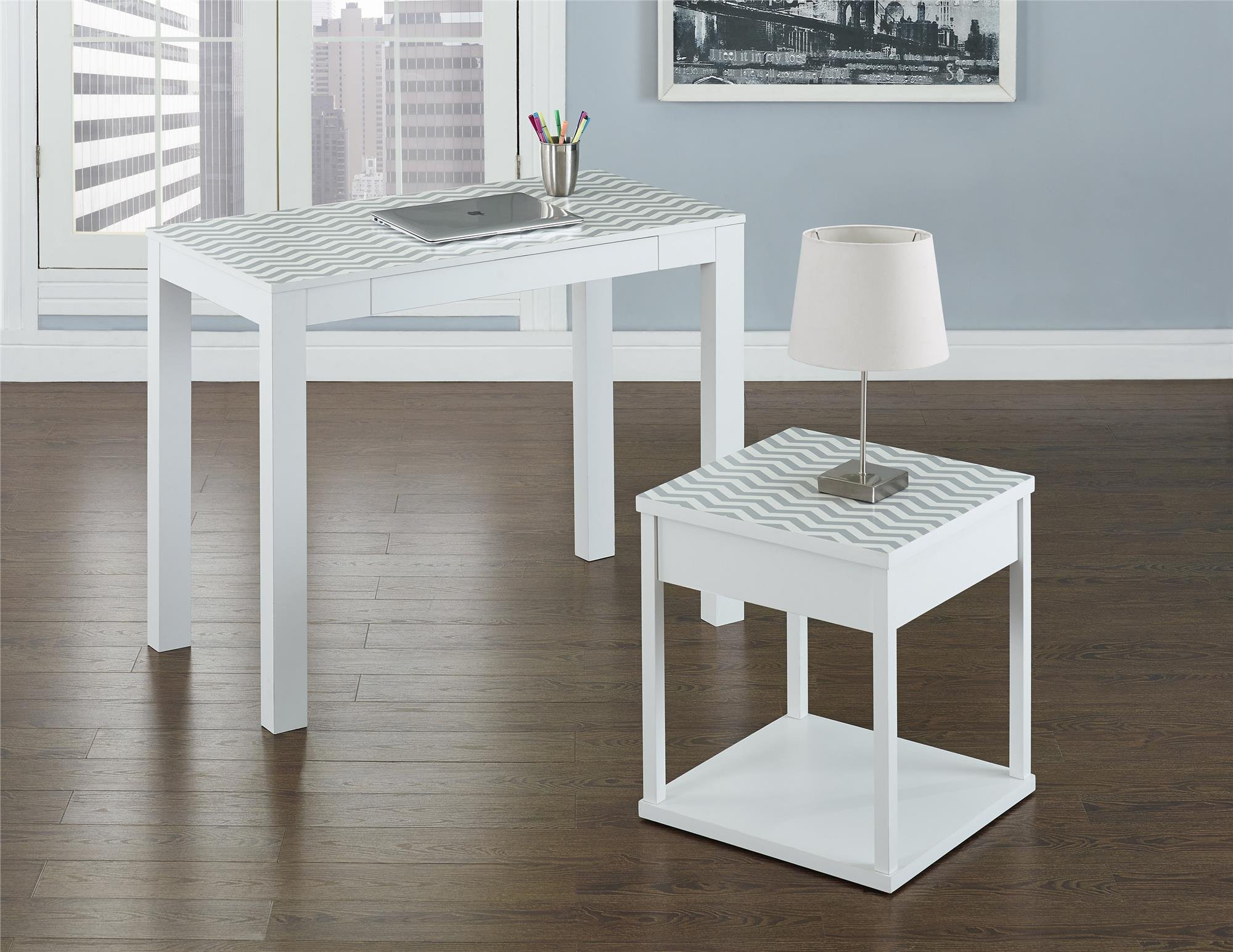 Ameriwood Home Parsons Desk Drawer, White/Gray Chevron by Ameriwood Home (Image #8)