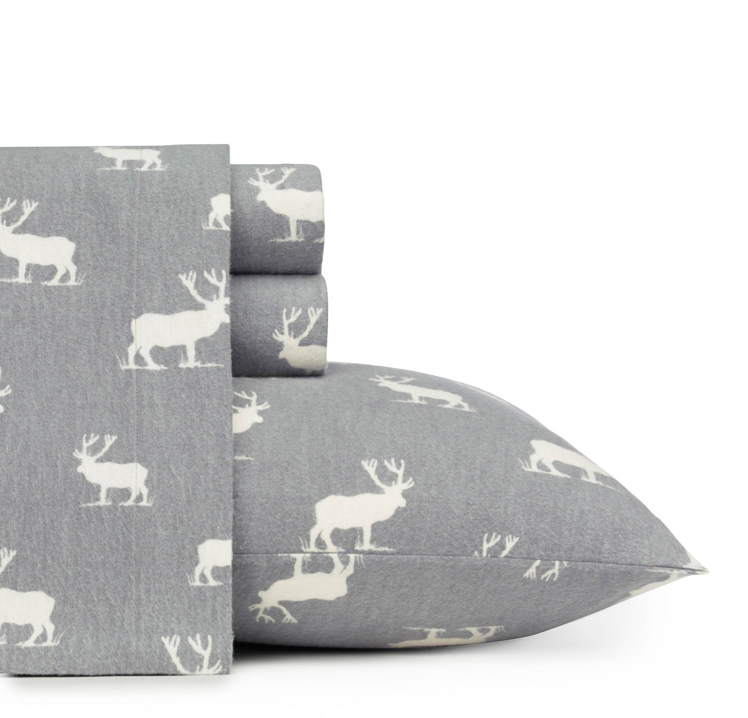 D&A 4 Piece Rustic Grey Elk Deer Theme Sheets King Set, Beautiful Animal, Cabin Lodge Cottage, Southwestern Print, Fully Elasticized Fitted, Deep Pocket, Cotton Flannel by D&A (Image #1)