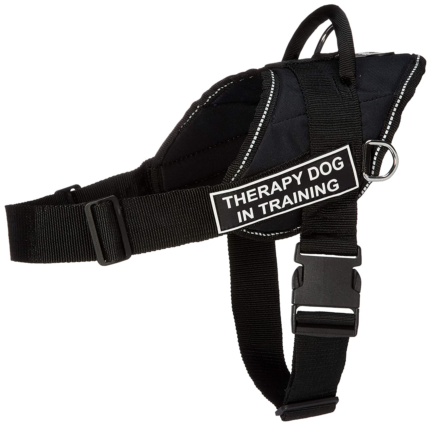 M Dean & Tyler Fun Works Harness, Therapy Dog In Training, Black with Reflective Trim, Medium, Fits Girth Size  28-Inch to 34-Inch