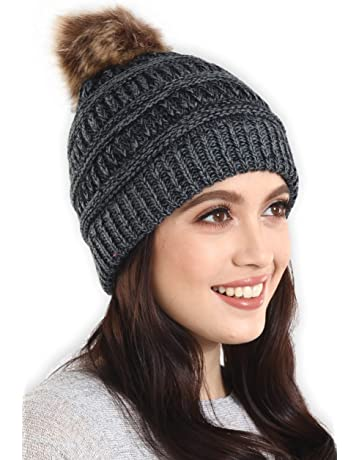 a8c6a430dba Brook + Bay Faux Fur Pom Pom Beanie - Stay Warm   Stylish - Thick
