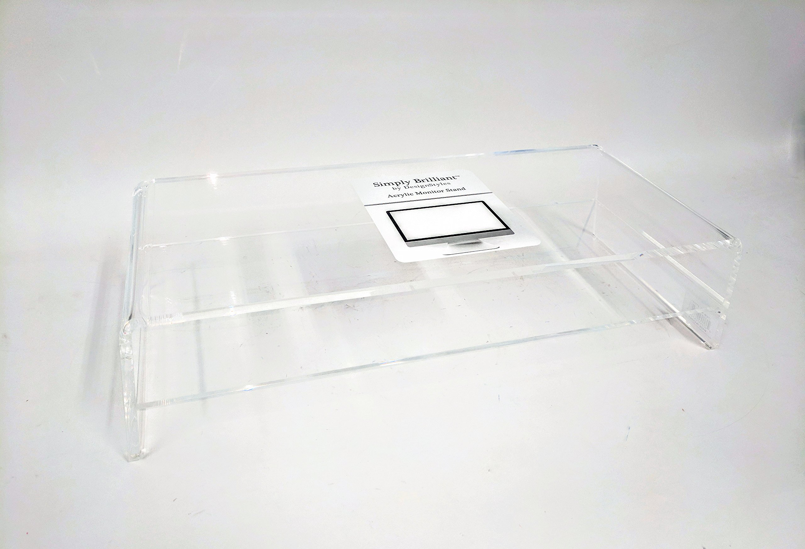 Designstyles Acrylic Laptop Stand Monitor Riser with Shelf; Underneath Storage Shelf for Paper, For Office Home Desktop