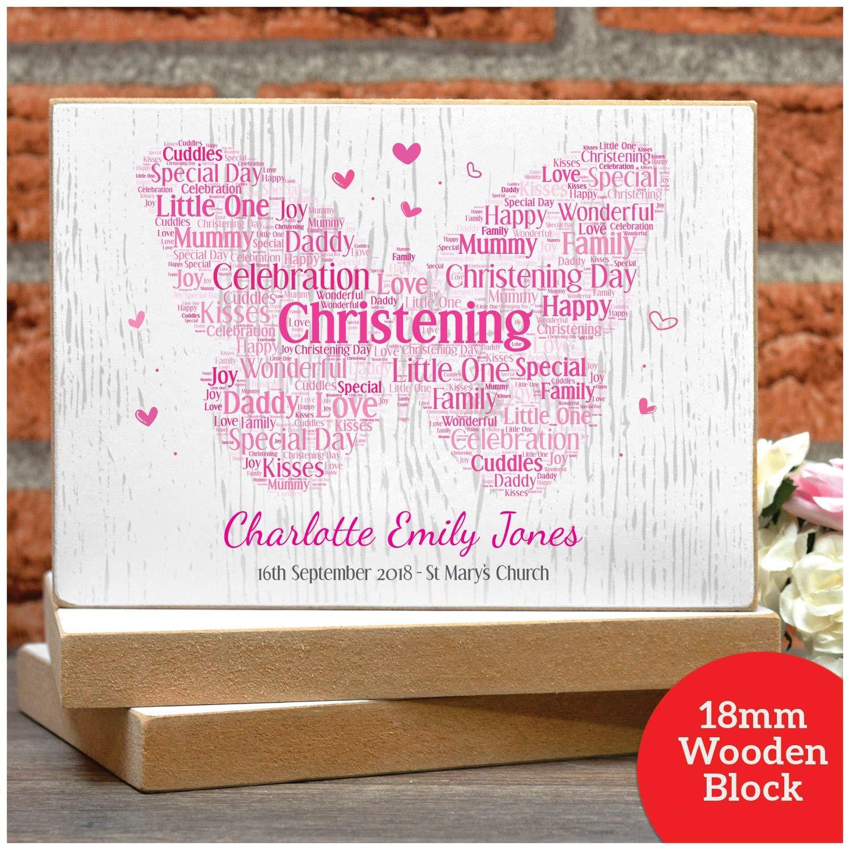 PERSONALISED CHRISTENING Girls Butterfly Gift Present for Goddaughter Girl Her