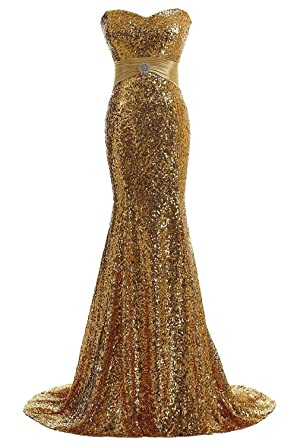 EverBeauty Sequinned Long Evening Dresses Mermaid Prom Dresses 2016 for Party Gold Size 2