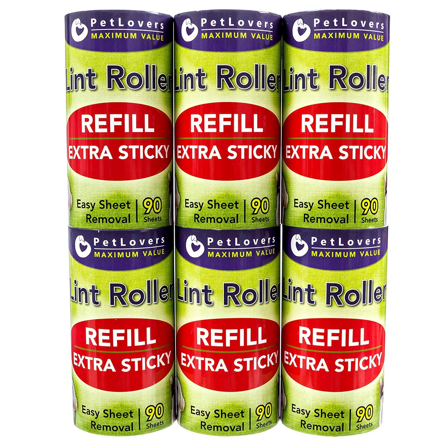 PetLovers Lint Roller Refills - 540 Sheets, Extra Sticky Sheets for Pet Hair, Lint Remover, and Dog & Cat Hair Removal, 6 Pack of Refills