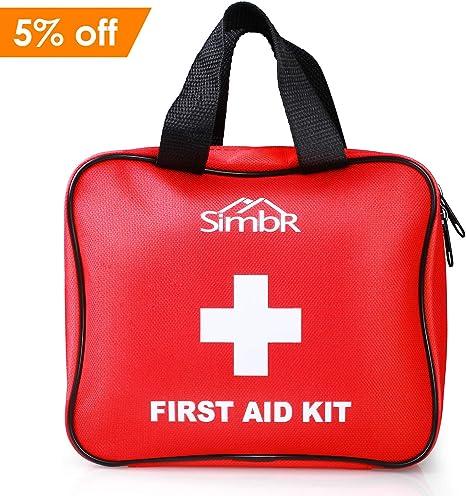 SIMBR Botiquín de Primeros Auxilios con 121 Artículos para Emergencia al Aire Libre Adecuado a Casa y Viaje con Certificación de CE/FDA/RoHS: Amazon.es: Deportes y aire libre
