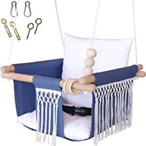 Mass Lumber Macrame Baby Swing Outdoor Indoor Seat Set with Secure Belt Mounting Hardwares Cushions Baby Hammock Hanging Chair for Infant Toddler Crochet Tree Boho Swing for Porch