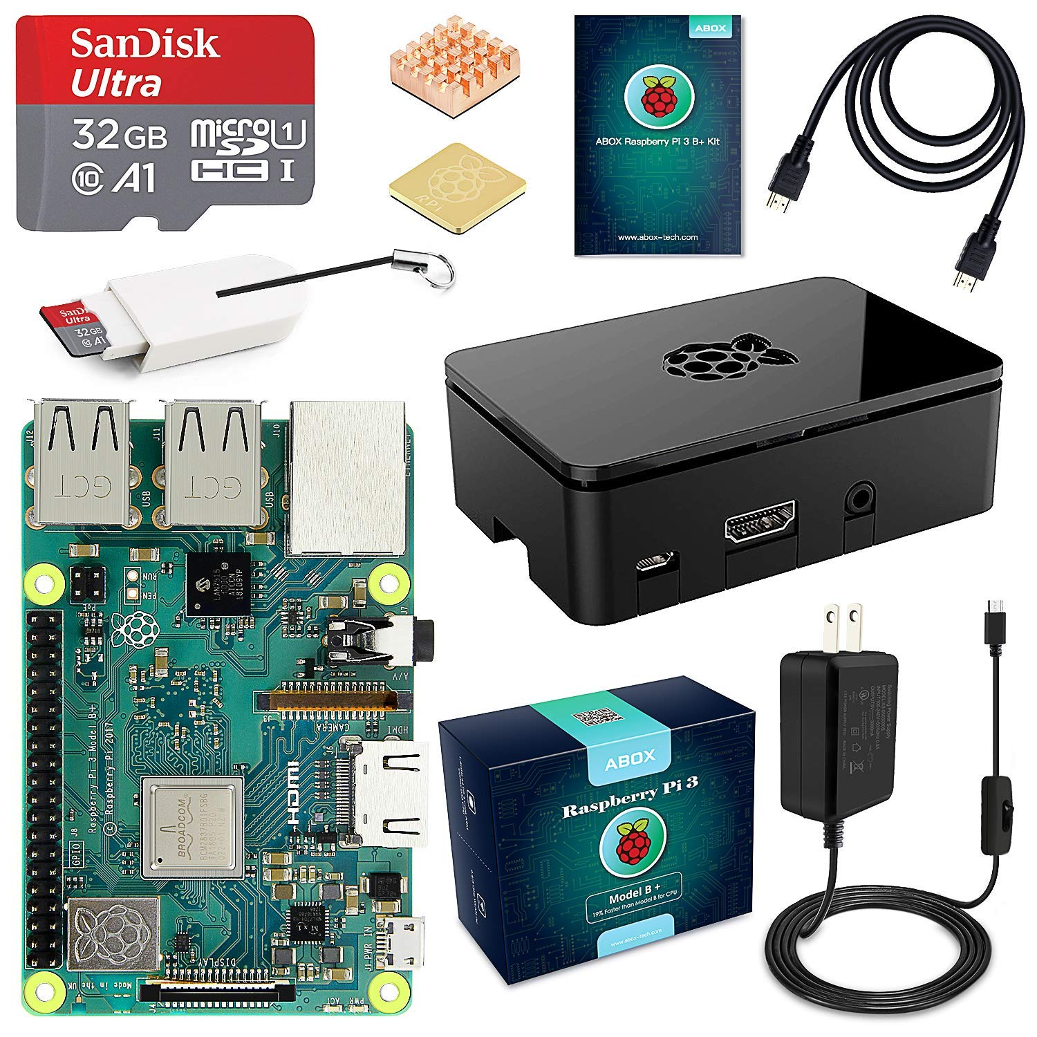 ABOX Raspberry Pi 3 B+ Complete Starter Kit with Model B Plus Motherboard 32GB Micro SD Card NOOBS, 5V 3A On/Off Power Supply, Premium Black Case, HDMI Cable, SD Card Reader with USB A&USB C, Heatsink by ABOX