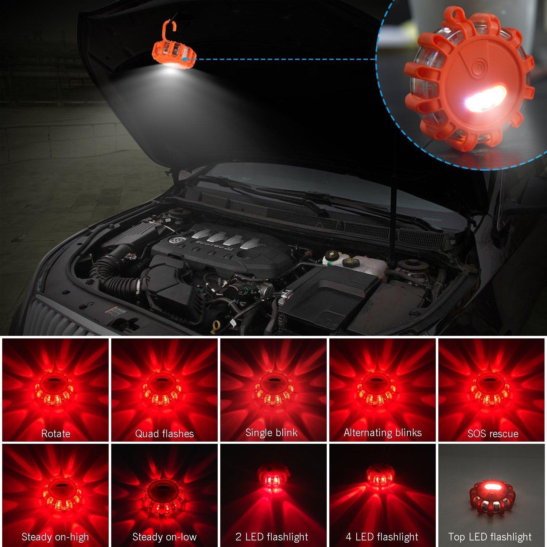 12-Pezzi Yandu LED Road Flare Flares di Emergenza Sicurezza Luce Lampeggiante Spia Luminosa per Auto Camion Barca con Gancio e Base Magnetica