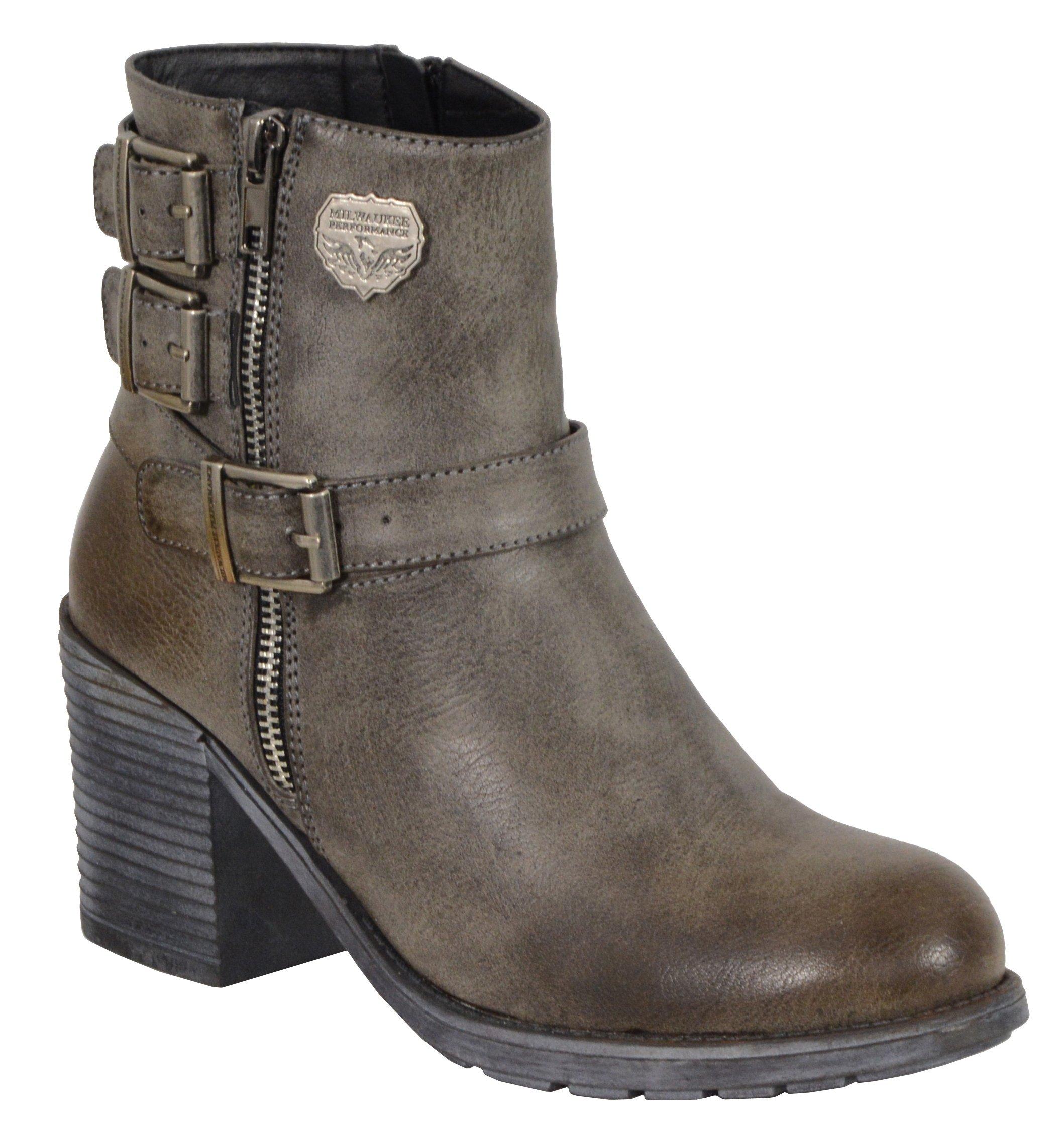 Milwaukee Performance Women's Triple Buckle Side Zip Boots with Platform Heel (Stone Grey, Size 8)