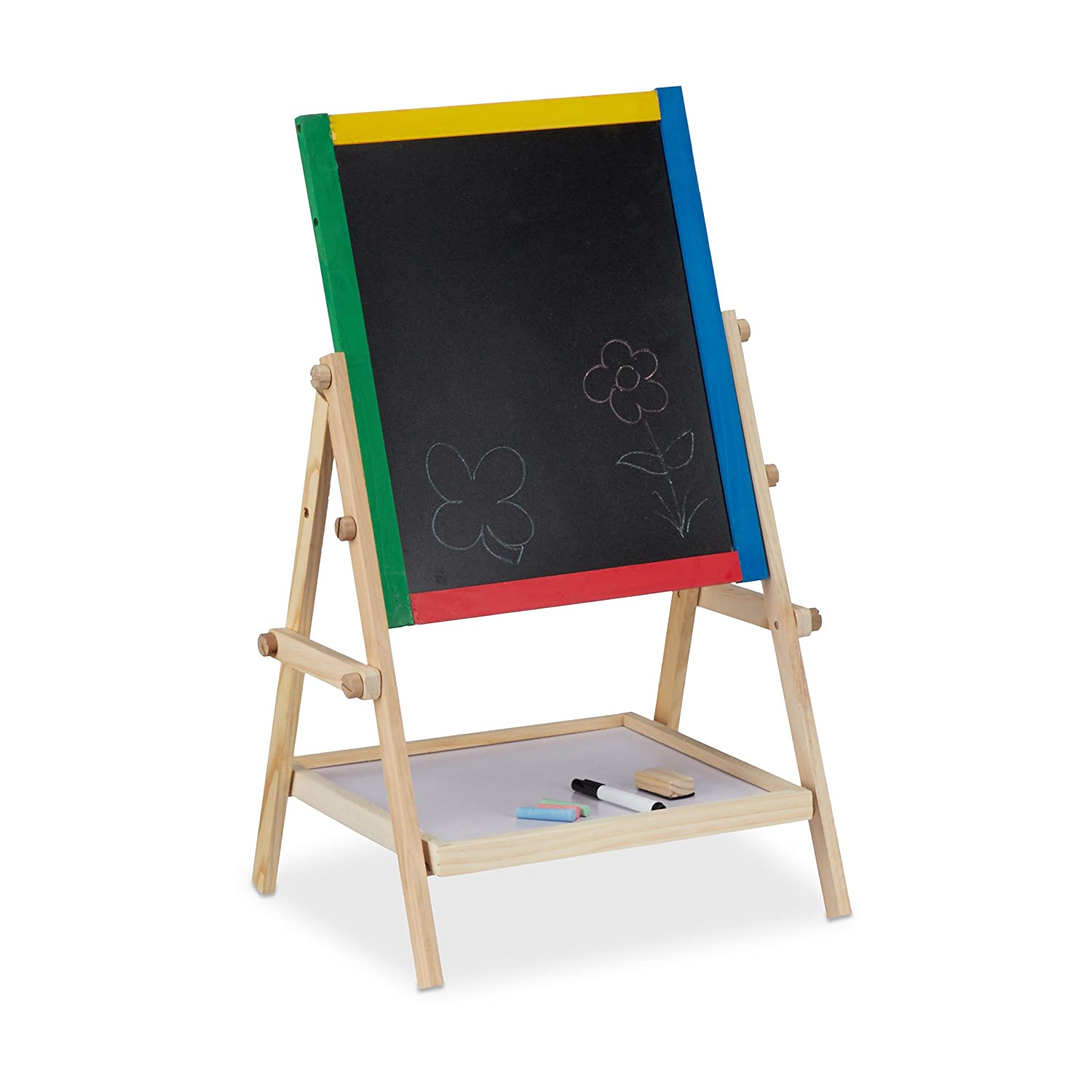 Relaxdays 10021988 Blackboard for Children, Chalkboard with Chalk and Marker, Magnetic Easel HxWxD: 64 x 40 x 32 cm, Colourful
