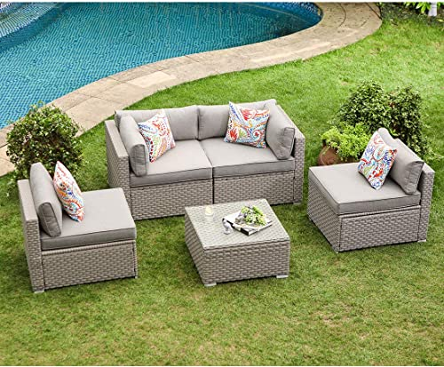 COSIEST 5-Piece Outdoor Furniture Set Warm Gray Wicker Sectional Sofa w Thik Cushion