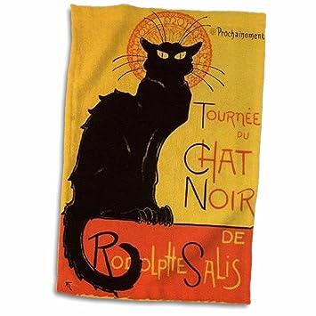 3dRose Toalla de Publicidad, Art Nouveau, Black Cats Noir, Le Chat, Blanco, 38,1 x 55,8 cm: Amazon.es: Hogar