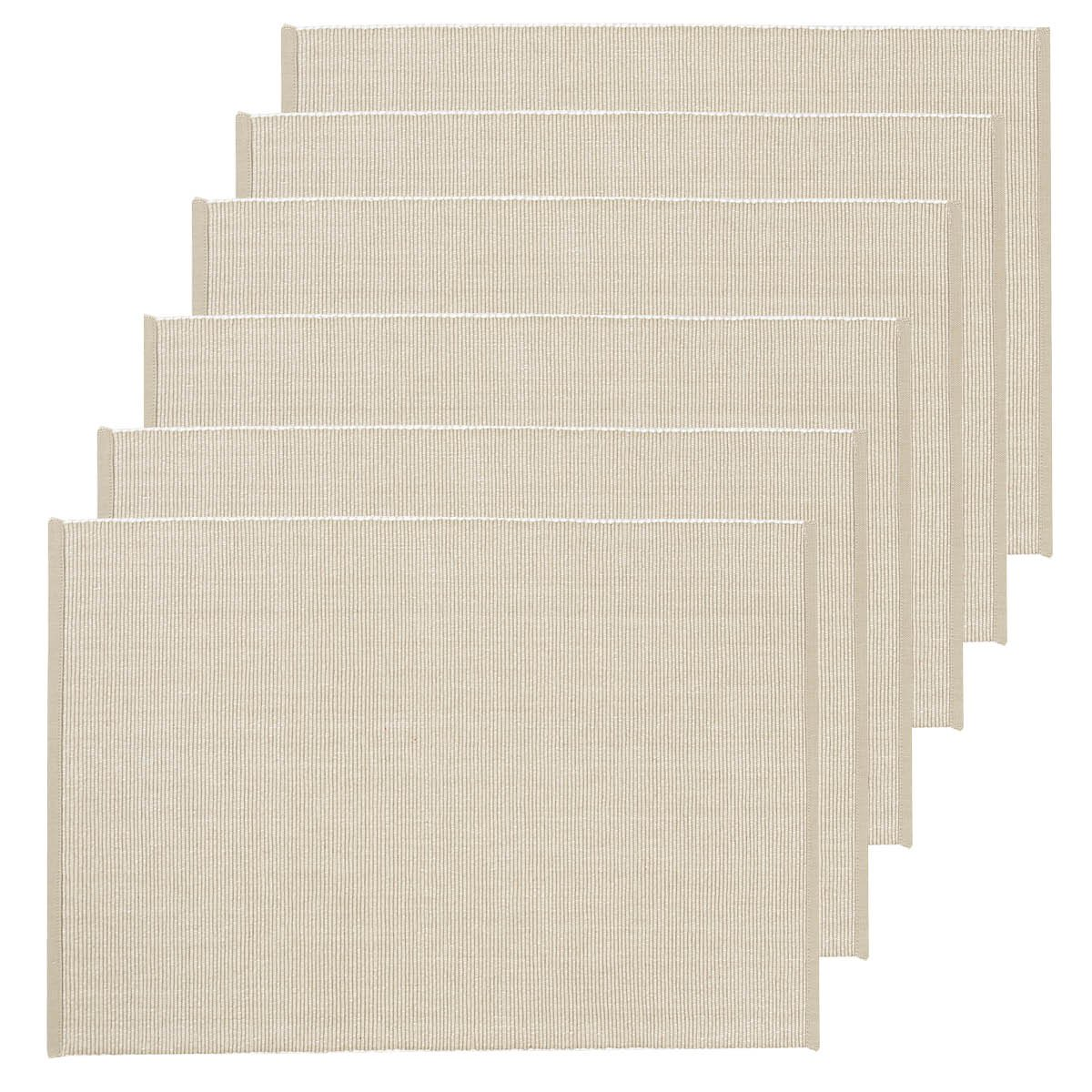 C&F Home Ribbed Chambray Sandstone Cotton Placemat Set of 6 Rectangular Placemat Set of 6 Sandstone Natural