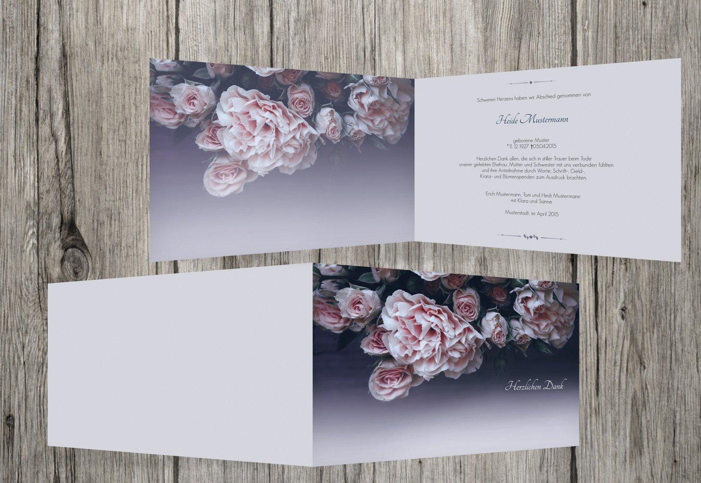 nueva marca Tarjetas de agradecimiento luto rosas, rosas, rosas, dunklesPetrolBlau, 30 Karten  buena reputación
