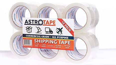 Designed for Packing Office 60 Yard 2.7mil Thick Commerical Grade Heavy Duty Packaging Tape Moving 12 Rolls Shipping