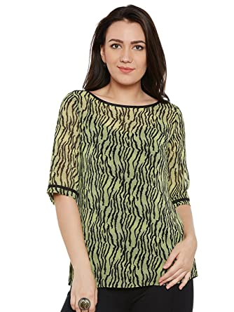 a367b79b72e6 Fabnest Green and Black Animal Print Top for Women: Amazon.in: Clothing &  Accessories