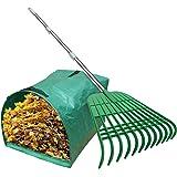 Gardzen 12 Tines Gardening Leaf Rake, Lightweight Steel Handle, Detachable, Ideal Camp Rake, Comes with Dustpan-Type Garden B
