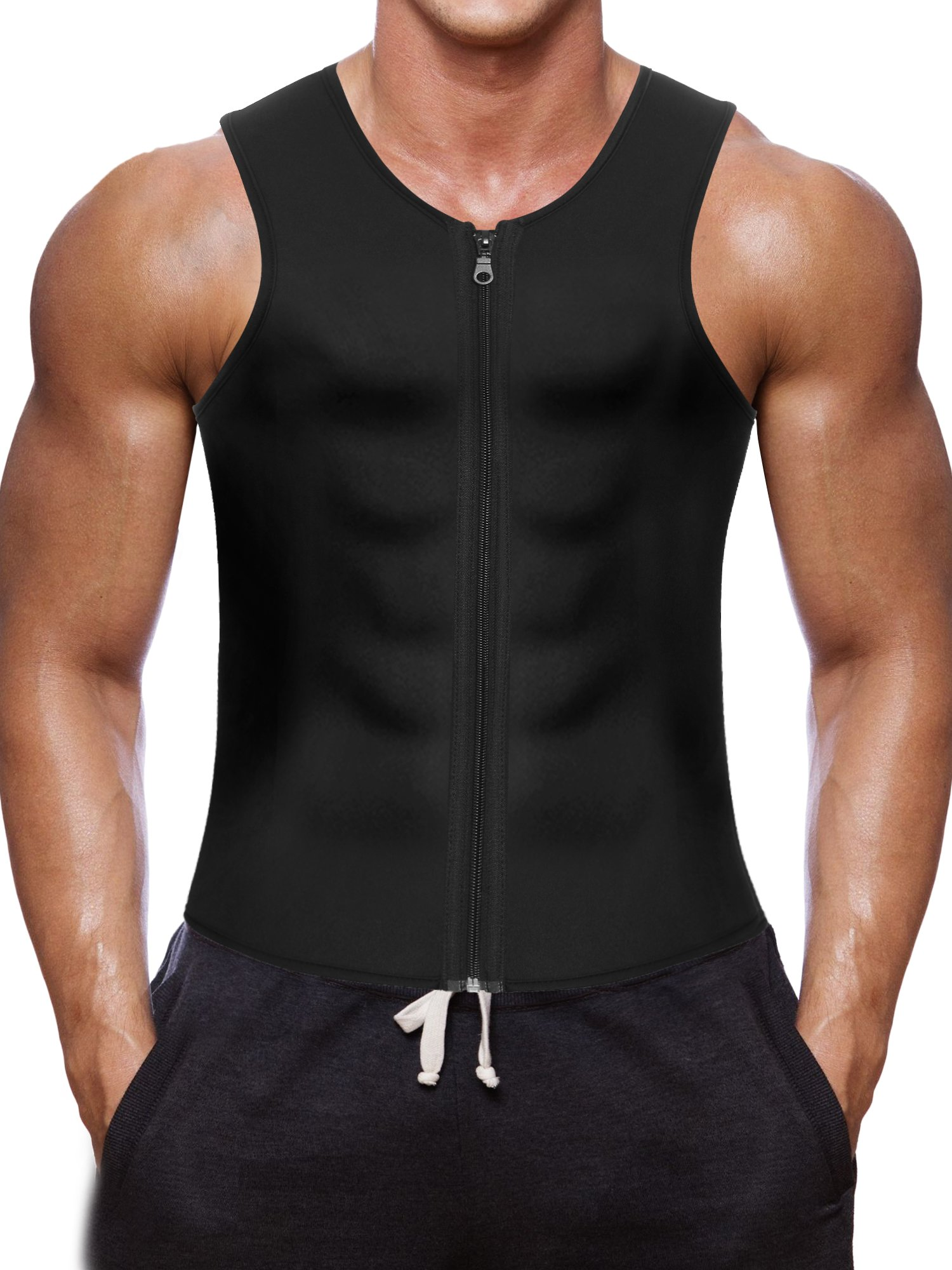 Men Waist Trainer Vest for Weightloss Hot Neoprene Corset Body Shaper Zipper Sauna Tank Top Workout Shirt (S, Black Neoprene Slimming Vest)