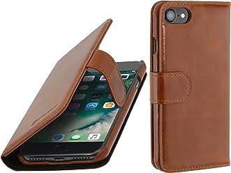 StilGut Talis, Housse iPhone 8 & iPhone 7 avec Porte-Cartes en Cuir véritable. Etui Portefeuille à Ouverture latérale et Languette magnétique pour iPhone 8 & iPhone 7 (4.7 Pouces), Cognac