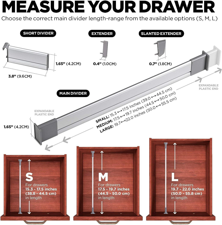 élégant en Aluminium modulaire Organisateur 9 SET Réglable Cuisine tiroirs diviseurs