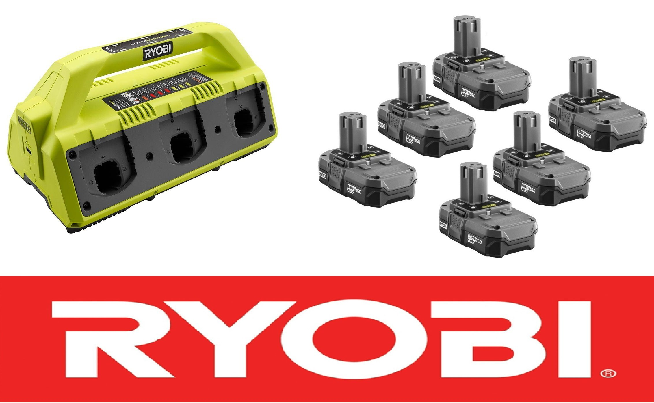 Ryobi One Plus 18-Volt 6-Port Super Charger P135 + (6) Batteries P102