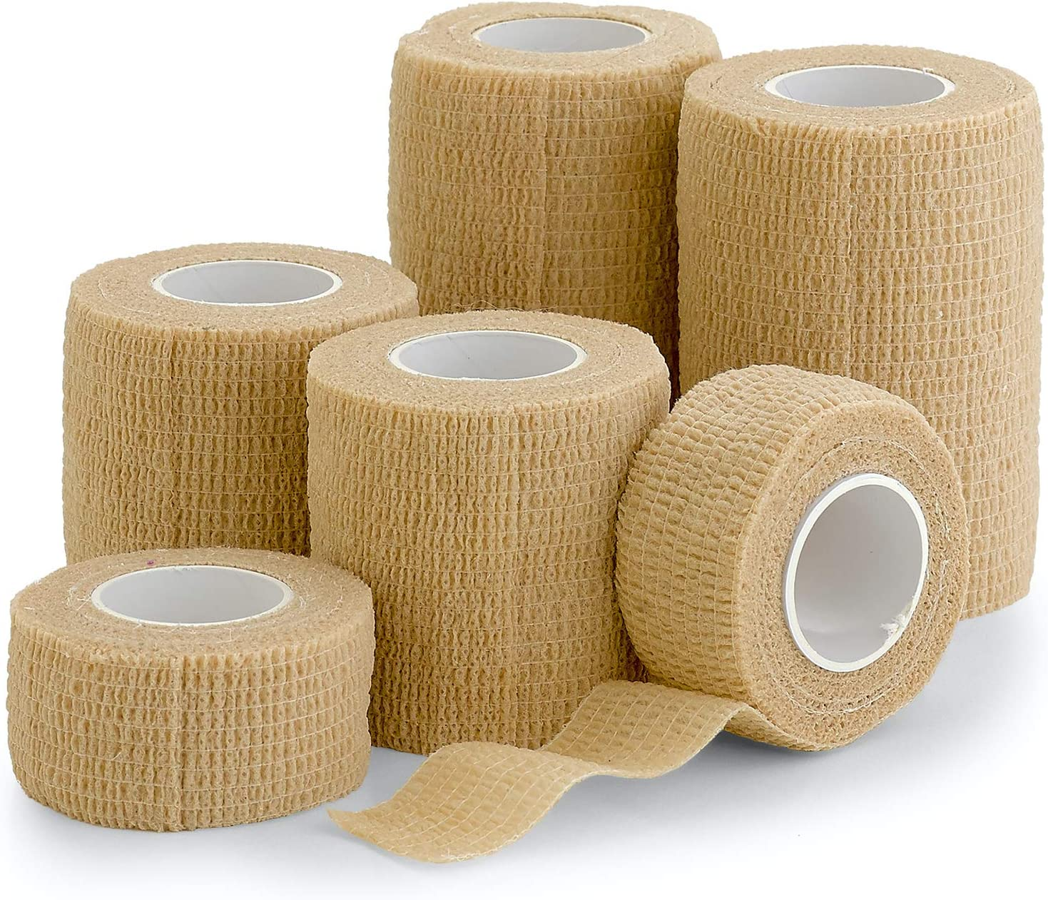 """6 Pack, Self Adherent Cohesive Tape - 1"""" 2"""" 3"""" x 5 Yards Combo Pack, (Light Tan Shade) Self Adhesive Bandage Rolls & Sports Athletic Wrap for Ankle, Wrist, Sprains"""