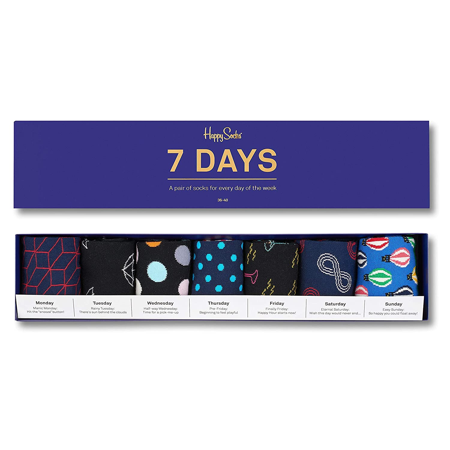 Happy Socks 7 Days Gift Box, Calcetines para Mujer, Multicolor, 37-40(Pack de 7): Amazon.es: Ropa y accesorios
