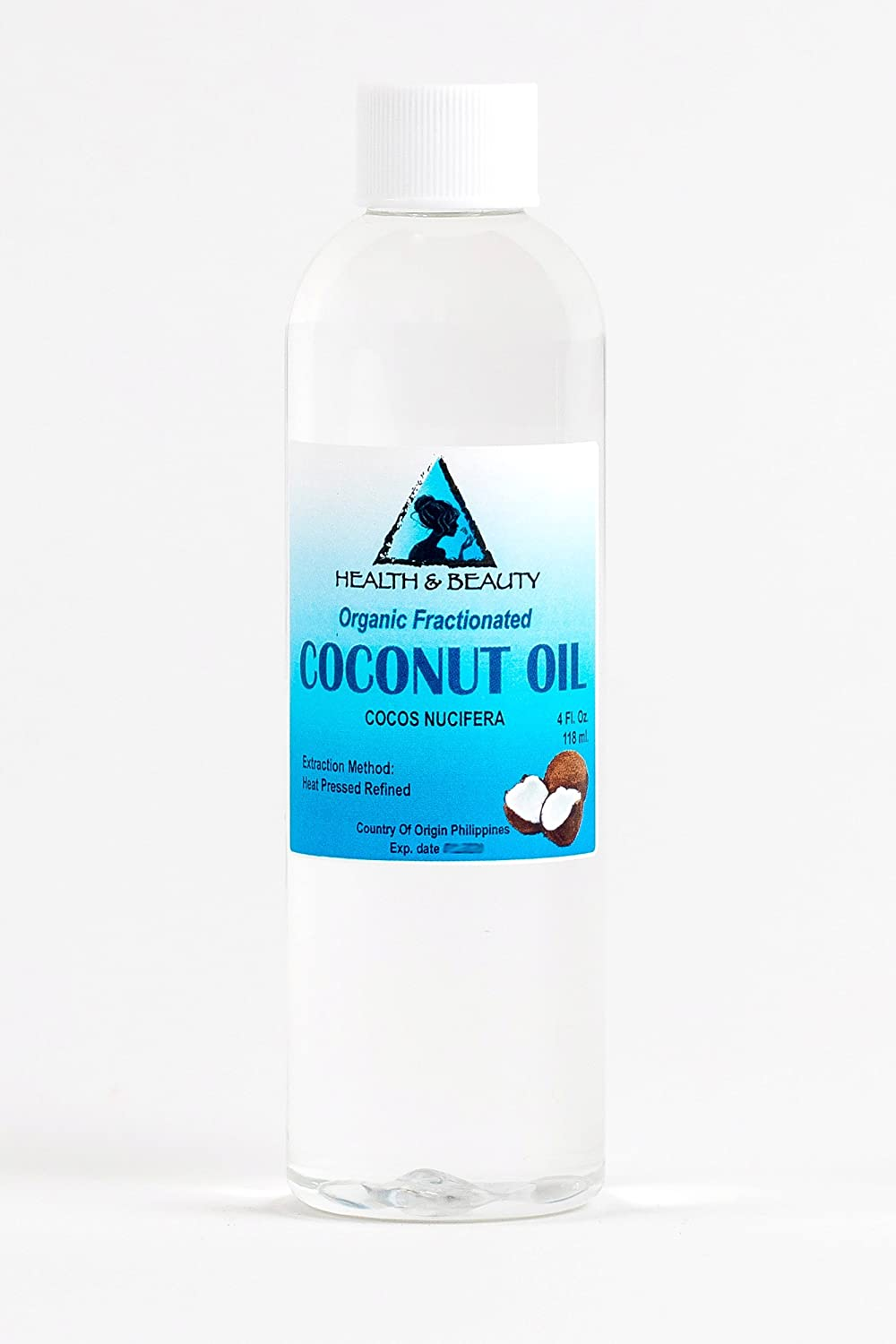 Coconut Oil Fractionated Organic Carrier Ultra Refined Premium 100% Pure 4 oz, 118 ml H&B OILS CENTER Co.