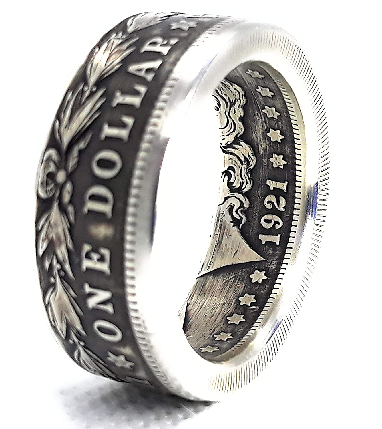 One of a kind Gift Silver coin ring Hammered Woody Texture Morgan Dollar 90/% fine silver jewelry size 11 12