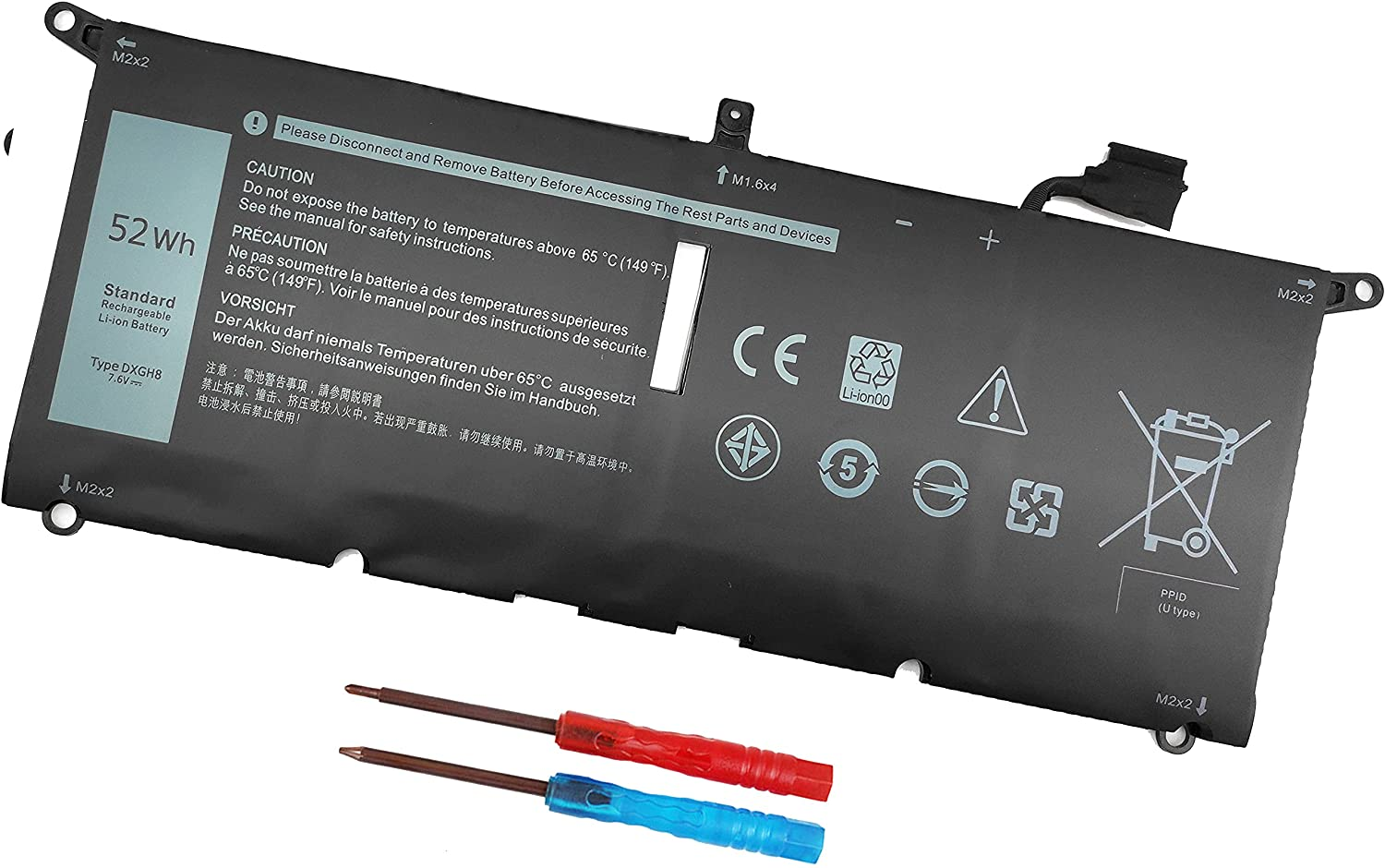 DXGH8 7.6V 52Wh Battery for Dell XPS 13 9370 9380 2019 Inspiron 13 7390 7391 2-in-1 5390 5391 7490 Latitude 3301 E3301 Vostro 5390 5391 Series 0H754V H754V G8VCF G8VCF6C HK6N5 P113G001 P82G P82G001