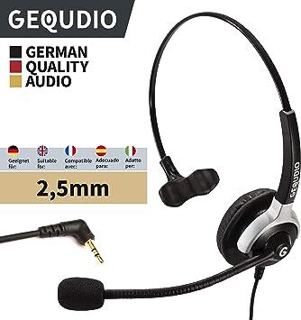 GEQUDIO Auricular con micrófono con 2.5mm Jack para Gigaset DECT®, Cisco SPA®, Panasonic®, Grandstream®, Polycom® teléfonos | 60 g de peso: Amazon.es: Electrónica