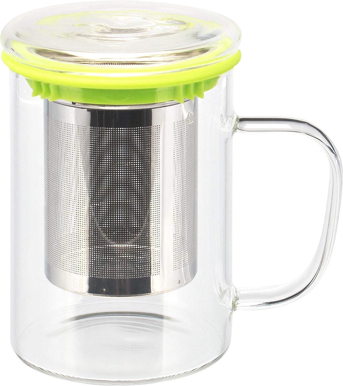 bremermann Teeglas, Teebecher mit Sieb und Deckel/Siebablage, Teetasse mit Dauersieb 84/2048 Vaso de té, Taza de té con colador y Bandeja de Tapa/Filtro, Taza de té con colador Permanente (Verde): Amazon.es: Hogar