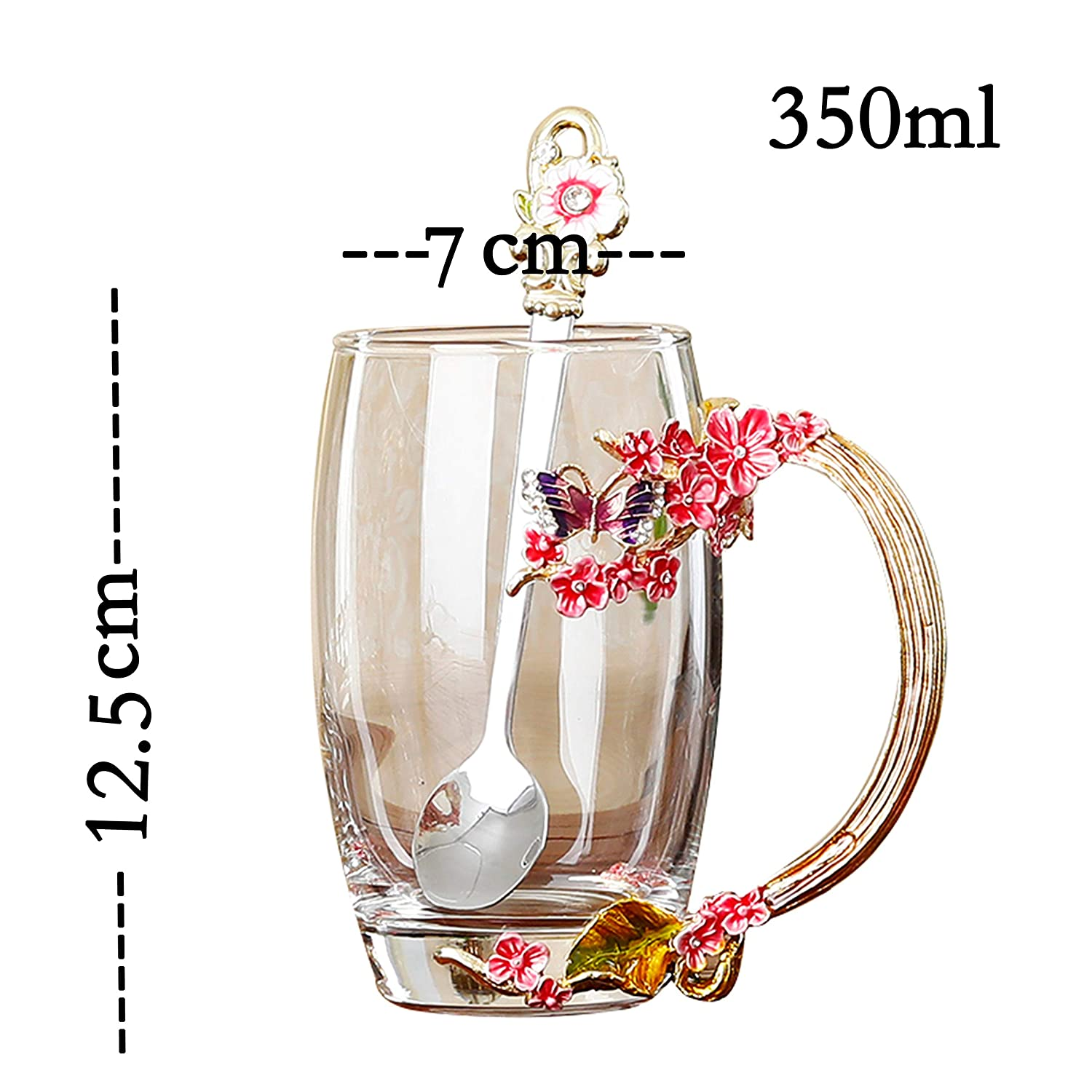 Short XuanMax Blue Plum Blossom Flowers Tea Cup Enamel Crystal Coffee Mug with Spoon Handmade Lead Free Butterfly Clear Glass Cups As Gift for Couples Friends Birthday Anniversary Valentines Day