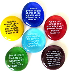 Lifeforce Glass Scripture Glass Stones,Six of Your Favorite Inspiring Bible Verses on Translucent and Opaque Rocks Packaged in a Deluxe Box Set II