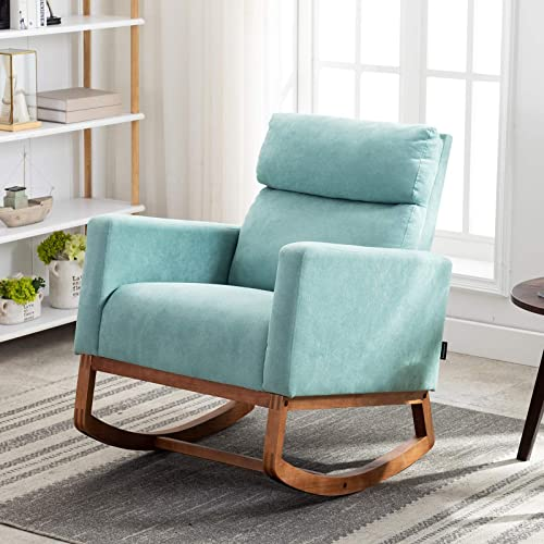 Artechworks Modern Fabric Rocking Chair Upholstered High Back Arm Retro Chair Padded Seat