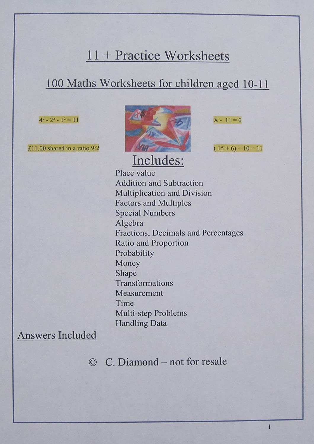 100 eleven plus maths practice worksheets for 11 exam