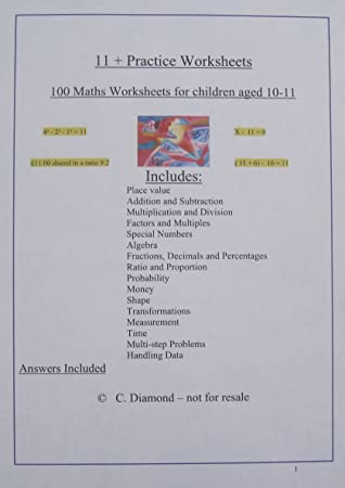 Eleven Plus Maths Practice Worksheets For  Exam Preparation   Eleven Plus Maths Practice Worksheets For  Exam Preparation  Pdf  File To Print Amazoncouk Office Products