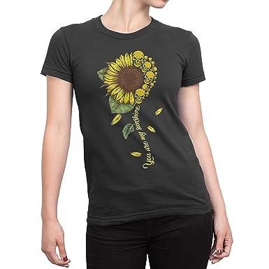 f999e8f351d6 Amazon.com: Cool You are My Sunshine Skull Sunflower Hippie T-Shirt ...
