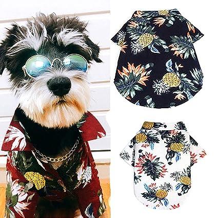 71dbc1f3c8fa Ranphy Hawaiian Dog Shirt Pet Cotton T-Shirt Summer Printed Puppy Cat Tank  Top Frenchie Bulldog Apparel Camp Luau Outfits Costume Vest Shirt,Polo  Sunscreen ...
